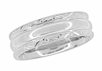 Circles and Chevrons 1950's Retro Carved Wedding Band in 14 Karat White Gold