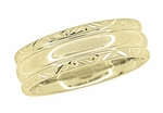 Circles and Chevrons Retro Engraved Wedding Band in 14 Karat Yellow Gold