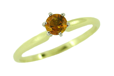 Citrine Solitaire Engagement Ring in 14 Karat Yellow Gold