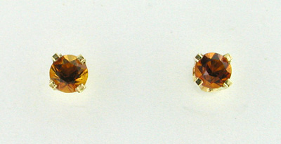 Citrine Stud Earrings in 14 Karat Gold