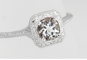 Filigree Scrolls Engraved Morganite Engagement Ring in 14 Karat White Gold - Click to enlarge