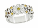 Cocoa Brown Diamond, Yellow Diamond, and White Diamond Floral Wedding Band in 14 Karat White Gold