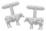 Cow Cufflinks in Sterling Silver
