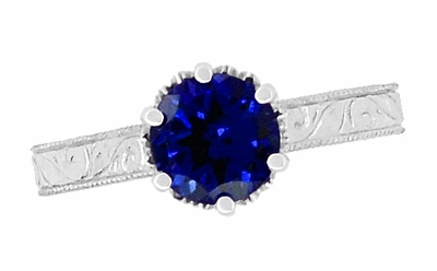 Crown Filigree Scrolls Art Deco Lab Blue Sapphire Promise Ring in Sterling Silver - Item SSR199S - Image 4