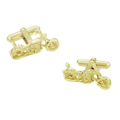 Cruiser Motorcycle Cufflinks in Solid 14 Karat Yellow Gold