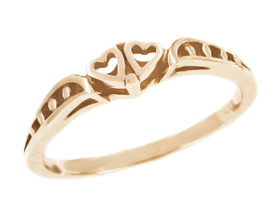 Cuddling Sweet Hearts Filigree Ring in 14 Karat Rose ( Pink ) Gold