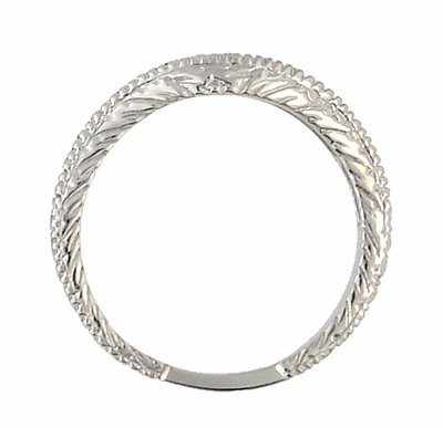 Curved Engraved Wheat Art Deco Diamond Wedding Band in Platinum - Item WR1139P - Image 3