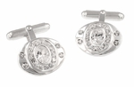 Dazzling Oval Cufflinks Set with Cubic Zirconia ( CZ ) Gemstones in Sterling Silver