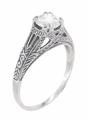 Art Deco White Topaz Filigree Engraved Promise Ring in Sterling Silver - Item SSR2WT - Image 2
