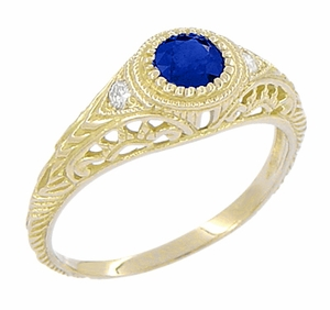 Art Deco Engraved Sapphire and Diamond Filigree Engagement Ring in 18 Karat Yellow Gold - Item R138Y - Image 1
