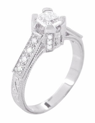 Art Deco 1/2 Carat Asscher Cut Diamond Engagement Ring in 18 Karat White Gold | Vintage Style Heirloom - Item R396AS - Image 2