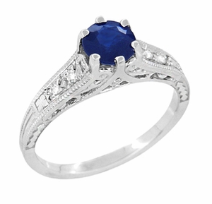 Art Deco Blue Sapphire and Diamonds Filigree Engagement Ring in 14 Karat White Gold - Item R158 - Image 1