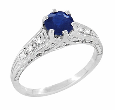 Art Deco Filigree Blue Sapphire Engagement Ring with Diamond Side Stones  in 14K White Gold  - Item R158 - Image 1