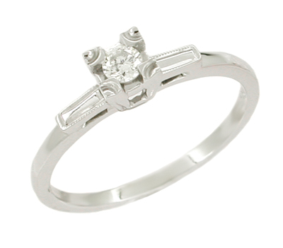 Diamond Solitaire Antique Engagement Ring in 14 Karat White Gold