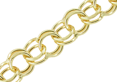 Double Link Vintage Charm Bracelet in 14 Karat Yellow Gold