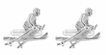 Downhill Skier Cufflinks in Sterling Silver