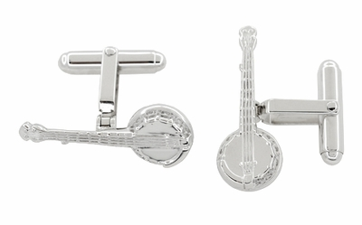 Dueling Banjo Cufflinks in Sterling Silver - Item SCL225 - Image 1