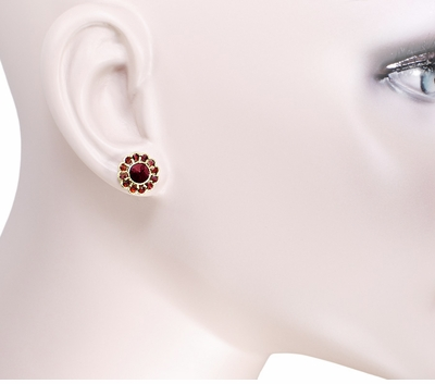 Bohemian Garnet Flower Blossom Stud Earrings in 14 Karat Yellow Gold and Sterling Silver Vermeil - Item E142POST - Image 1