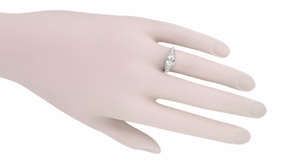 East West White Sapphire Filigree Edwardian Engagement Ring in 14K White Gold - Item R799WWS - Image 3