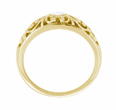 Edwardian 14 Karat Yellow Gold Filigree Diamond Ring | Heirloom Bezel Setting - Item R197Y - Image 1