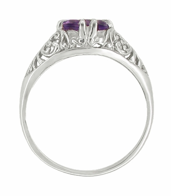 Edwardian Amethyst Filigree Engagement Ring in 14 Karat White Gold - Item R332 - Image 1
