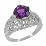 Edwardian Amethyst Filigree Ring in 14 Karat White Gold