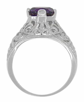 Edwardian Amethyst Filigree Ring in 14 Karat White Gold - Item R718W - Image 2