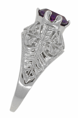 Edwardian Amethyst Filigree Ring in 14 Karat White Gold - Item R718W - Image 3