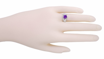 Edwardian Amethyst Filigree Ring in 14 Karat White Gold - Item R718W - Image 5