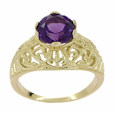 Edwardian Amethyst Filigree Ring in 14 Karat Yellow Gold | 1.25 Carat | 6.5 mm - Item R718 - Image 1