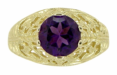 Edwardian Amethyst Filigree Ring in 14 Karat Yellow Gold | 1.25 Carat | 6.5 mm - Item R718 - Image 4