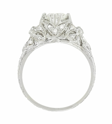 Edwardian Antique Style 1 Carat Diamond Filigree Engagement Ring in 18 Karat White Gold - Item R6791D - Image 2