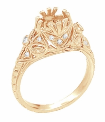 Antique Style Filigree Edwardian Engagement Ring Semimount for a 1 Carat Diamond in 14 Karat Rose ( Pink ) Gold