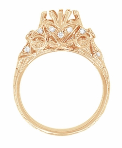 Antique Style Filigree Edwardian Engagement Ring Semimount for a 1 Carat Diamond in 14 Karat Rose ( Pink ) Gold - Item R6791R - Image 3