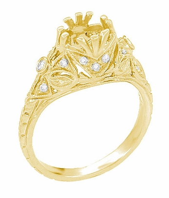 Edwardian Antique Style 1 Carat Filigree Engagement Ring Mounting in 18 Karat Yellow Gold | 6.5mm - Item R6791Y - Image 1