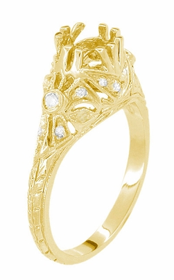 Edwardian Antique Style 1 Carat Filigree Engagement Ring Mounting in 18 Karat Yellow Gold | 6.5mm - Item R6791Y - Image 3