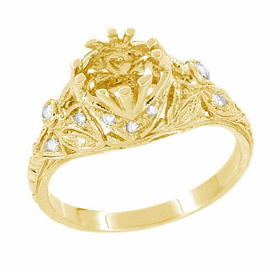 Edwardian Antique Style 1 Carat Filigree Engagement Ring Mounting in 18 Karat Yellow Gold | 6.5mm - Item R6791Y - Image 4