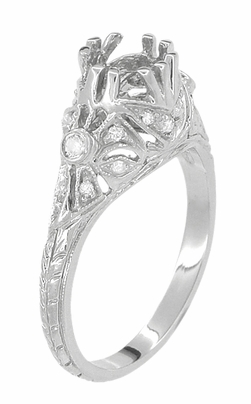 Edwardian Antique Style 1 Carat Filigree Engagement Ring Mounting in 18K White Gold | 6.5mm - Item R6791 - Image 3