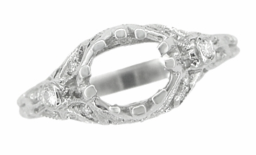 Edwardian Antique Style 1 Carat Filigree Engagement Ring Mounting in 18K White Gold | 6.5mm - Item R6791 - Image 5