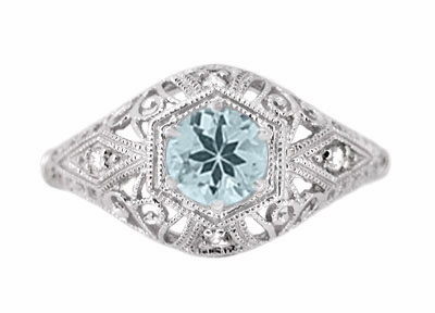 Edwardian Aquamarine and Diamonds Scroll Dome Filigree Engagement Ring in 14 Karat White Gold - Item R139A - Image 1
