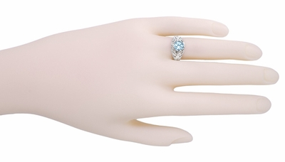 Edwardian Aquamarine Filigree Ring in 14 Karat White Gold - Item R721 - Image 2