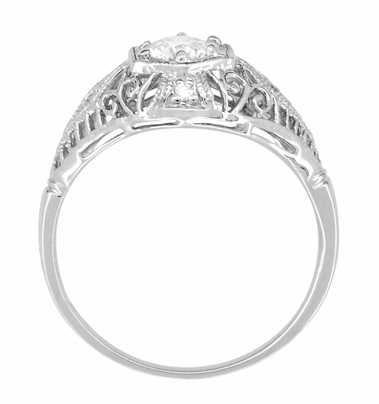 Edwardian Diamond Scroll Dome Filigree Engagement Ring in 14 Karat White Gold - Item R139D - Image 3