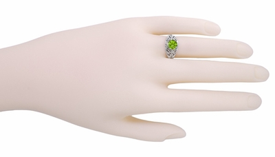 Edwardian Filigree 1.20 Carat Peridot Promise Ring in Sterling Silver - Item SSR7 - Image 2