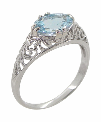 Edwardian Filigree 1.30 Carat Oval Blue Topaz Promise Ring in Sterling Silver - Item R1125BT - Image 1