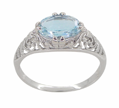 Edwardian Filigree 1.30 Carat Oval Blue Topaz Promise Ring in Sterling Silver - Item R1125BT - Image 3