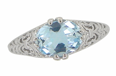 Edwardian Filigree 1.30 Carat Oval Blue Topaz Promise Ring in Sterling Silver - Item R1125BT - Image 4