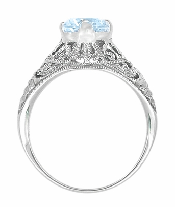 Edwardian Filigree 1.45 Carat Blue Topaz Promise Ring in Sterling Silver | Dome Solitaire - Item SSR137BT - Image 1
