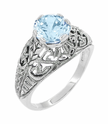 Edwardian Filigree 1.45 Carat Blue Topaz Promise Ring in Sterling Silver | Dome Solitaire - Item SSR137BT - Image 2