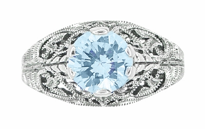 Edwardian Filigree 1.45 Carat Blue Topaz Promise Ring in Sterling Silver | Dome Solitaire - Item SSR137BT - Image 3