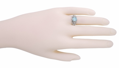 Edwardian Filigree 1.45 Carat Blue Topaz Promise Ring in Sterling Silver | Dome Solitaire - Item SSR137BT - Image 4